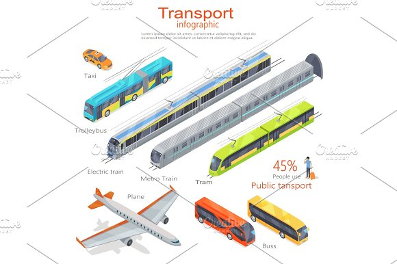Transport Infographic Public Transport Vector