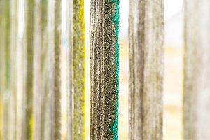Vertical vintage fence border bokeh background backdrop