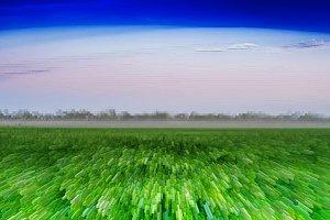 Horizontal vivid green field 3d extruded cubes landscape backgro