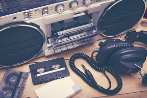 retro cassette deck background