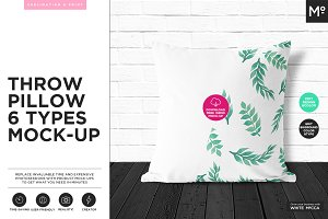 6xThrow Pillows Mock-up FREE demo