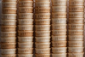 sweet cups for ice cream. waffle background