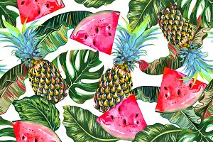 Pineapple,watermelon,leaves pattern