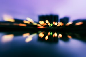 Horizontal night city reflection motion abstraction background