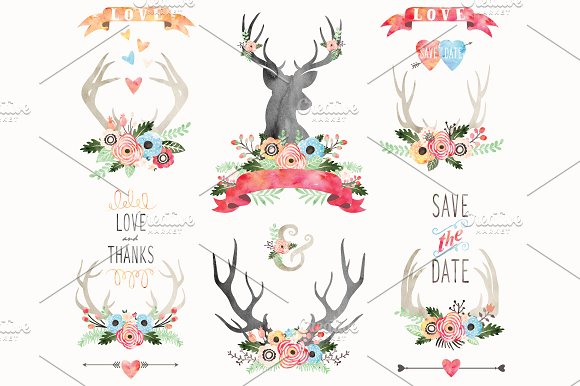 Watercolor Floral Antlers Elements