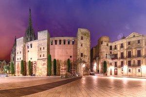 Ancient Roman Gate in morning, Barcelona, Spain