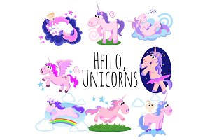 cute unicorn isolated set, magic pegasus flying with wing and horn on rainbow, fantasy horse vector illustration, myth creature dreaming on white background, greeting card template