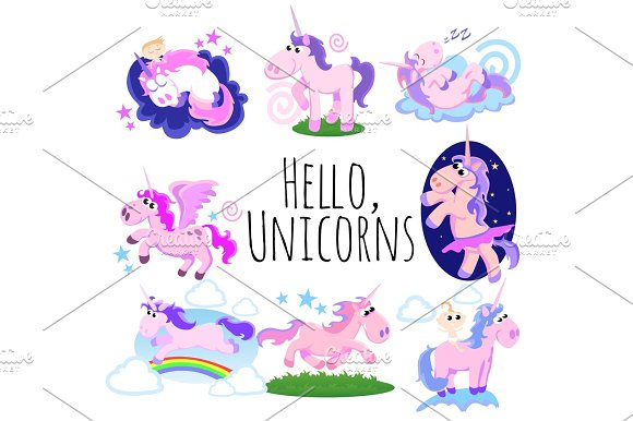 Cute Unicorn Isolated Set Magic Pegasus Flying With Wing And Horn On Rainbow Fantasy Horse Vector Illustration Myth Creature Dreaming On White Background Greeting Card Template