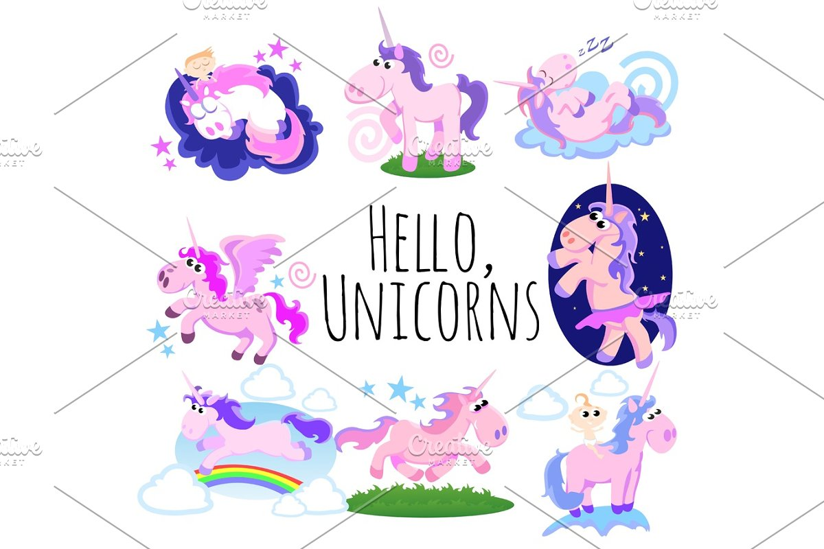 cute unicorn isolated set, magic pegasus flying with wing and horn on rainbow, fantasy horse vector illustration, myth creature dreaming on white background, greeting card template in Illustrations