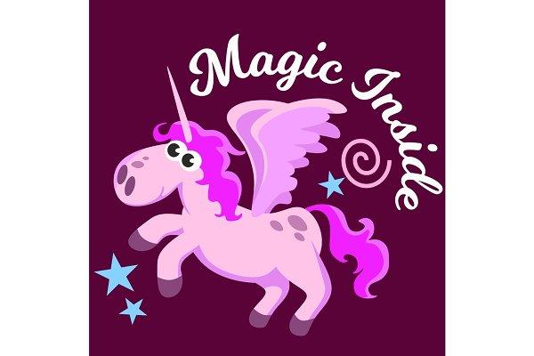 cute unicorn isolated set, magic pe…