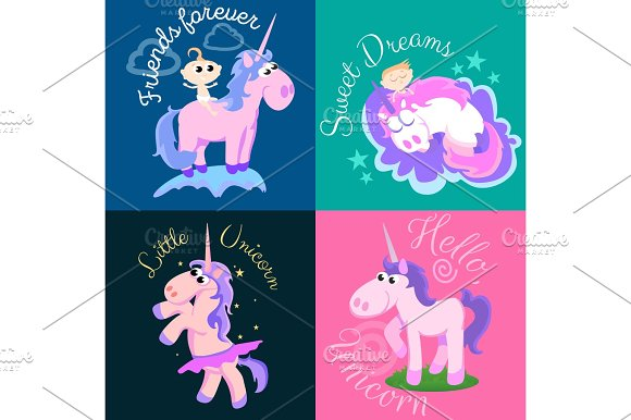 Cute Unicorn Isolated Set Magic Pegasus Flying With Wing And Horn On Rainbow Fantasy Horse Vector Illustration Myth Creature Dreaming On Colored Background Greeting Card Text Template