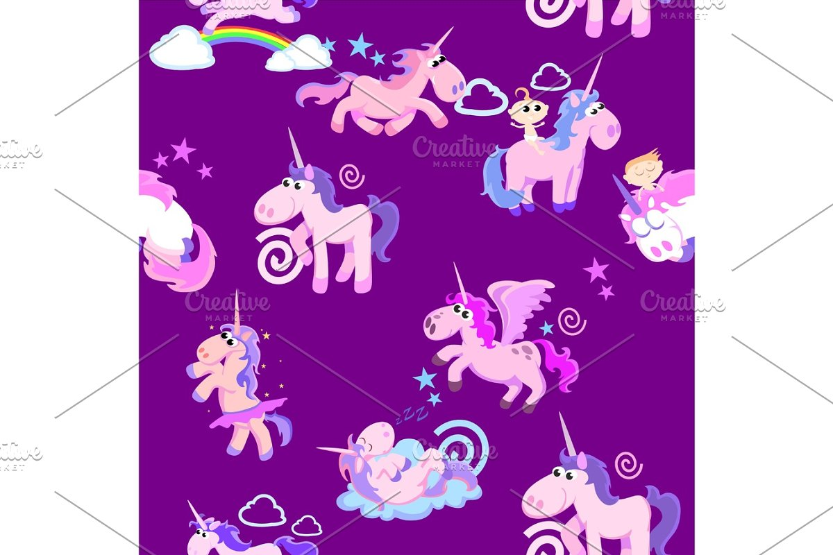 cute unicorn seamless pattern, magic pegasus flying with wing and horn on rainbow, fantasy horse vector illustration, myth creature dreaming background.
