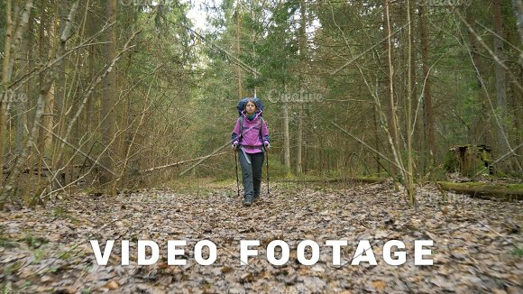 Tourist Woman With Backpack Enjoying View To Rainforest Flying Camera Shot