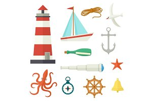 Big set of flat cartoon style nautical elements