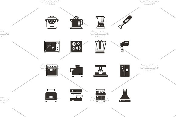 Kitchen Appliances Vector Silhouette Icons Isolated