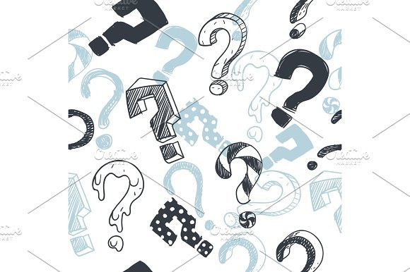 Doodle Interrogation Marks Vector Seamlles Background Endless Pattern With Sketch Question Mark
