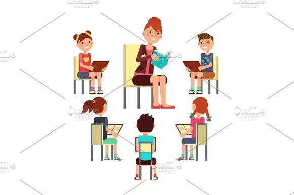 Teacher Reading Book To Children That Sitting Around Kids Education Vector Concept
