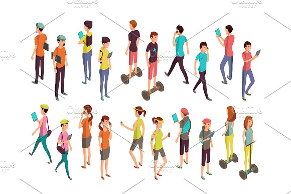 Young Vector People With Laptops And Phones Isolated Isometric Teenagers In Casual Clothes For Computer Technology Concept