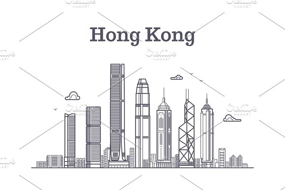 China Hong Kong City Skyline Architecture Landmarks And Buildings Vector Line Panorama