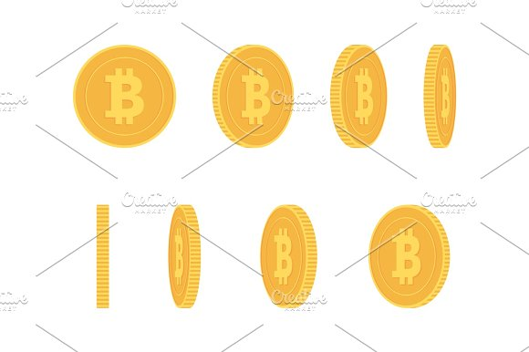Bitcoin Gold Coin At Different Angles For Animation Vector Set