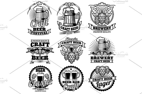 Vintage Beer Drink Bar Vector Labels Retro Brewery Emblems And Logos With Hops And Mug