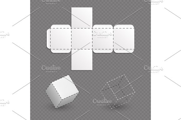 Work Surface Of Box Model Cube Vector Template