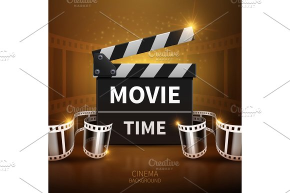 Online Movie And Television Vector Background With Cinema Clapper And Film Roll