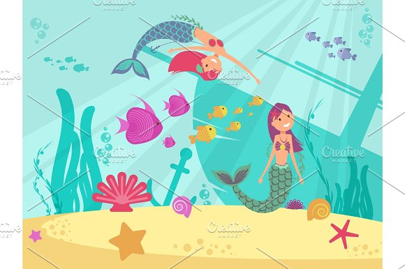 Cartoon Fairytale Underwater Vector Background With Mermaids