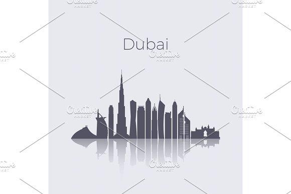 Dubai City Modern Buildings Silhouette Vector Skyline Uae Emirates Landmark Cityscape