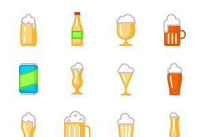 Beer glasses flat icons