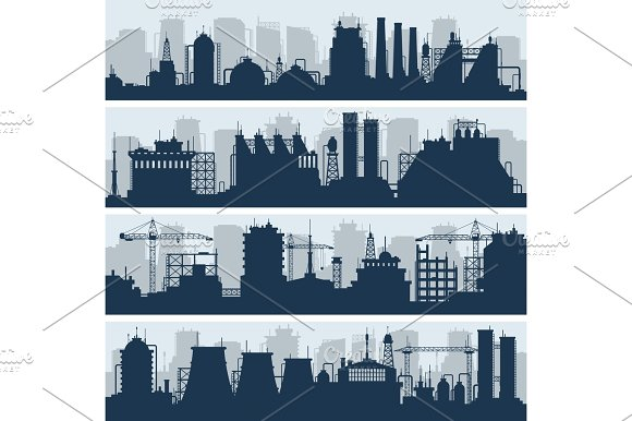 Industrial Vector Skylines Modern Factory And Works Building Silhouettes