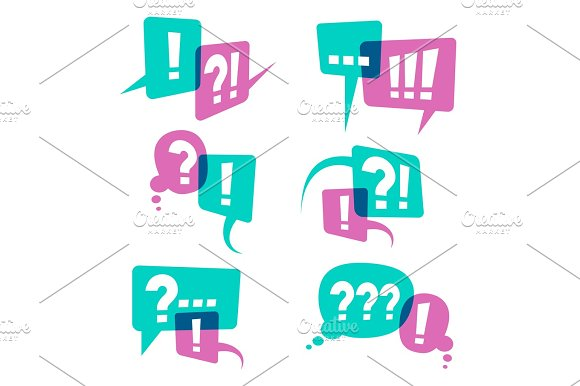Question Marks On Speech Bubbles Icons Business Query Vector Concept
