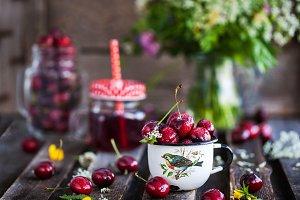 Fresh wet cherry