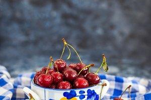 Fresh wet sour cherry