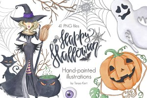Halloween Hand-painted Clipart