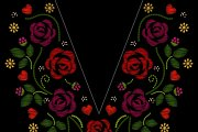 Neck line embroidery with roses