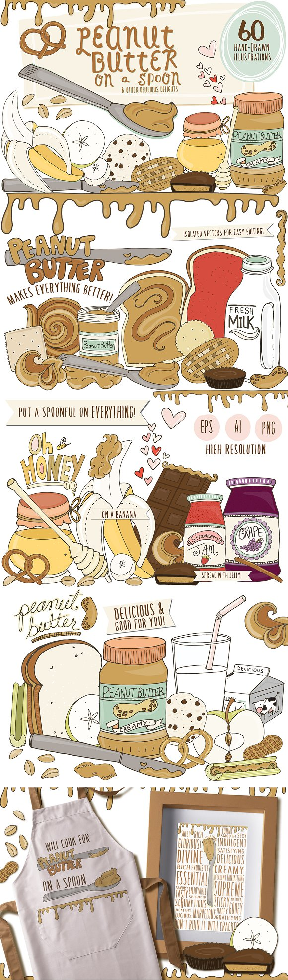 Peanut Butter Fun Food Illustrations