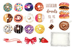 Watercolor donuts. PSD, PNG, JPEG