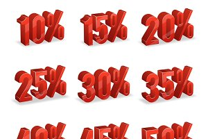 Discount numbers isometric 3d set