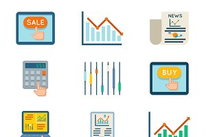 Stock finance flat icons