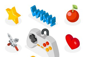Isometric game icons