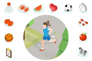 Isometric healthy lifestyle concept