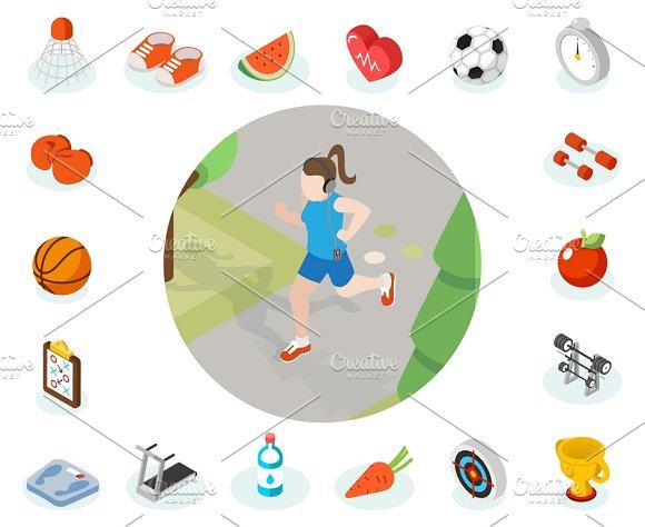 Isometric Healthy Lifestyle Concept