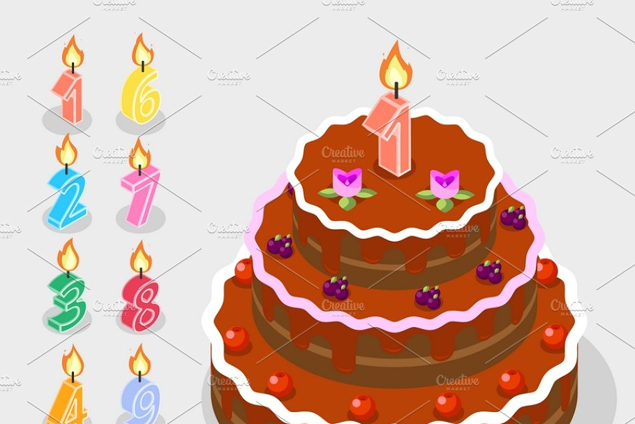 Birthday candles fire numbers in Illustrations - product preview 8