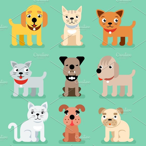 Puppy And Kitten Pet Flat Icons