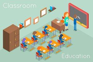 School classroom isometric concept