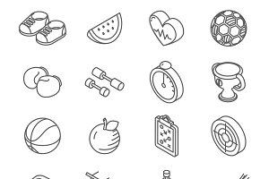 Isometric healthy lifestyle icons