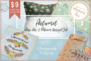 Autumn Clipart & Pattern Design Set