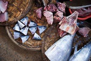 Raw fish at the market