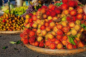 Basket with ripe rambutan